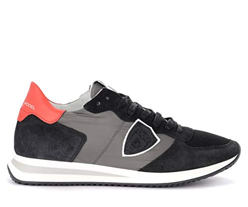 Philippe Model Sneaker Tropez X In Camoscio E Tessuto Nero E Rosso