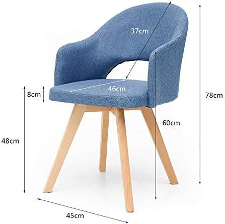 LAOMAO Chaises de Salle à Manger/Sièges rembourrés/Chaises de Bureau/Chaise de Loisirs avec Chaise de Style en Bois Chaise en Tissu, Gris/Bleu/Beige/Couleur Matcha/Marron Bleu