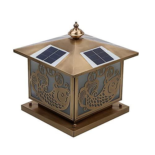 BBZZ Full cobre solar post tapa luces al aire libre IP55 impermeable poste luz pared columna faros hogar paisaje exterior pilar linterna patio pilar lámpara