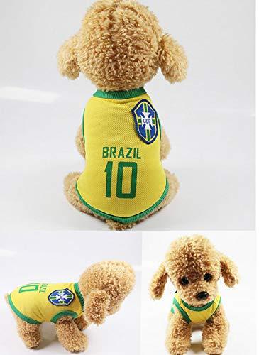 Kuailaidan voetbal basketbal pak lente en zomer hond kleding huisdier kleding vest team bal pak, M, Brazil team