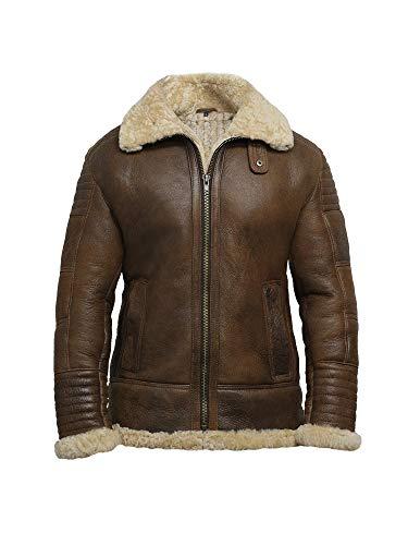 BRANDSLOCK Hombres de piel de oveja de piel de oveja chaqueta de la Primera Guerra Mundial 2 Bombardero (XXL)