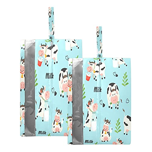F17 - Bolsas de viaje para zapatos con leche, vaca, animales, hojas de amor, corazón, bolsa de almacenamiento, impermeable, portátil, ligera, bolsa de almacenamiento para hombres y mujeres, 2 unidades