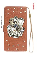 楽天モバイル Rakuten Mini [ピカデリー][左利き用][鏡あり] スマホケース 手帳型 横型 携帯 カバー case 茶色 ブラウン デコ きらきら ストーン ハート クリア カメラホール ストラップホール スタンド