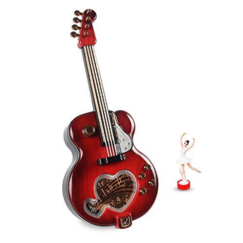 Mini-Gitarren-Spieluhr, rotierender Balletttänzer, Feiertags-Geburtstagsgeschenk-Tischplattenverzierungen (Color : Red)