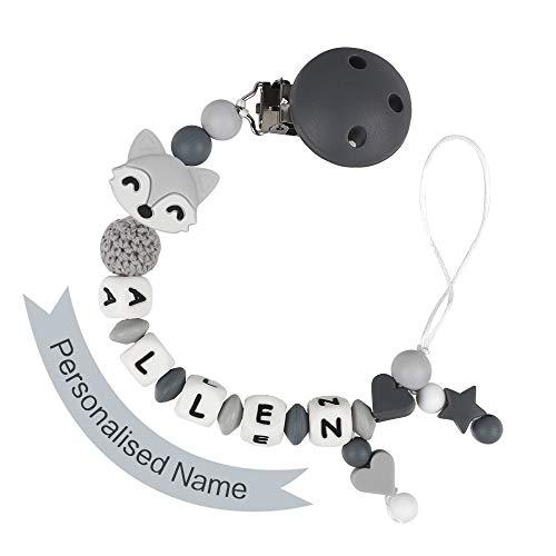 MCGMITT Schnullerkette mit Namen Junge Schnuller Clip Personalisierte Silikon Perlen Beißring Zahnen BPA Frei für Babys Fuchs (Grau)