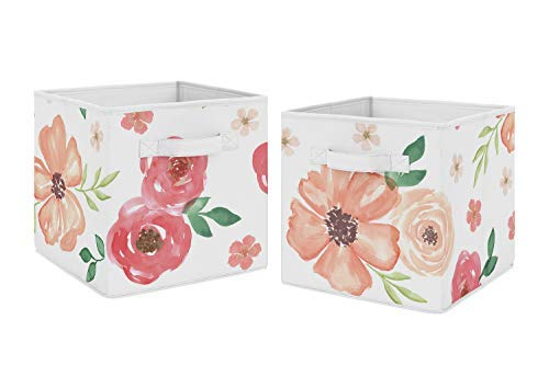 Sweet Jojo Designs Peach and Green Watercolor Floral Organizer Storage Bins for Collection - Set of 2 - Pink Rose Flower