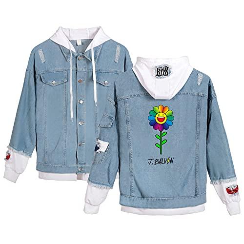CCEE Personality Men Women J Balvin Denim Jacket Tupac Amaru Shakur Hooded Denim Jacket Fashion Boy Jean Jackets Outwear Cowboy