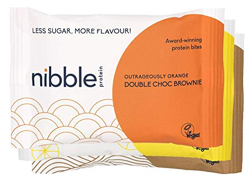 Nibble Protein Brownie Bites Multipack (12 x 36g Individual Packs of Assorted Flavours - Choc Orange, Lemon & Choc Walnut) Lower Sugar, Packed with Protein, Vegan, Gluten-Free Chocolate Brownies