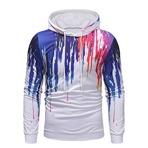 Herren-Sweatshirt, kreativer Druck, mit Kapuze und Kordelzug Gr. L, weiß