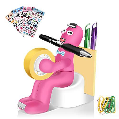 Lustige Bürobedarf Station, multifunktionales Schreibtisch Zubehör mit Klebebandspender, Memohalter, Büroklammern, Haftnotizen, Aufklebern, perfektes Geschenk für Studenten und Büro (pink)