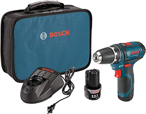 Product Image of the Bosch Power Tools Drill Kit - PS31-2A - 12V, 3/8 Inch, Two Speed Driver, Cordless Drill Set - Includes Two Lithium Ion Batteries, 12V Charger, Screwdriver Bits & Soft Carrying Bag, Blue