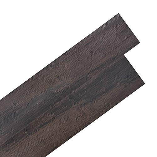 vidaXL Laminat Dielen PVC 5,02m² 2mm Selbstklebend Dunkelbraun Vinyl Boden