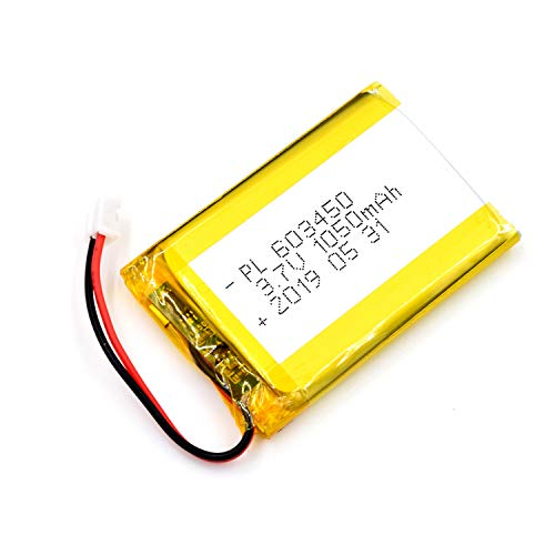 AKZYTUE 3.7V 1050mAh 603450 Lipo Battery Rechargeable Lithium Polymer ion Battery Pack with JST Connector
