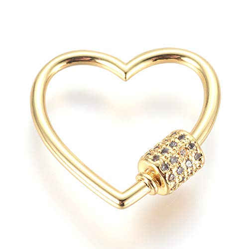 LiQunSweet 5 Pcs Brass Micro Pave Cubic Zirconia Screw Keychain Carabiner Lock Charm Screw Gate Lock Spring Link Buckle for Keychain Necklaces Making Heart - 23x23mm