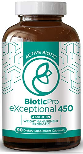 Biotic Pro Exceptional 450 | Weight Management x4 in 1 | Probiotic Bio Dietary Supplement Digestive Enzymes | Green Tea Extract | Arctic Biotic | Natural & Non-GMO | 90 Vegetarian Caps