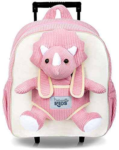 Naturally KIDS Dinosaur Backpack - Dinosaur Toys for Kids 3-5 - Kids Suitcase for Girl Boy w Stuffed Animal - Gifts for 7 Year Old - w Pockets & Reflective Logo - Rolling Backpack w Pink Triceratops