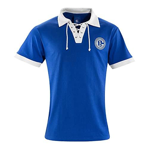 FC Schalke 04 Retro T-Shirt - Tradition - Shirt S04 Trikot div. Größen - Plus Lesezeichen I Love Gelsenkirchen Größe S