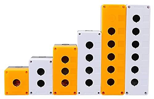 LGFCOK Apertura de la instalación de 22 mm a Prueba de Polvo a Prueba de Agua XB2 LA38 LAY37 Caja de Control del Interruptor de botón 1/2/3/4/5 Agujero Altura 65mm (Color : White, Size : 1 Hole)
