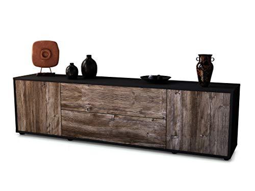 Stil.Zeit TV Schrank Lowboard Tina, Korpus in anthrazit matt/Front im Holz-Design Treibholz (180x49x35cm), mit Push-to-Open Technik und hochwertigen Leichtlaufschienen, Made in Germany