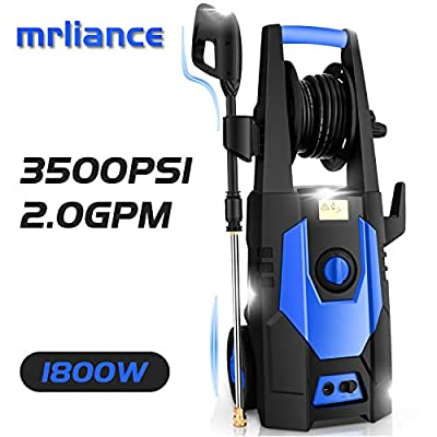 mrliance 3500PSI Electric Pressure Washer 2.0GPM Power Washer 1800W High Pressure Washer Cleaner Machine with Spray Gun, Hose Reel, Brush, and 4 Adjustable Nozzles