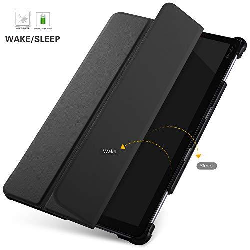 IVSO Hülle für Huawei MediaPad M5 Lite 10, Ultra Schlank Slim Schutzhülle Hochwertiges PU mit Standfunktion Perfekt Geeignet für Huawei MediaPad M5 Lite 10 10.1 Zoll 2018 Modell, Schwarz - 3