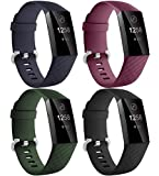 Dirrelo Compatible con Correa Fitbit Charge 3/Fitbit Charge 4 para Mujeres Hombres, 4 Pack Impermeab...
