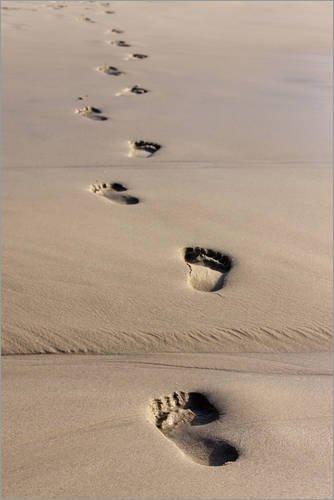 Poster 20 x 30 cm: Atlantischer Ozean, Fußspuren im Sand, Spur, barfuß, gehen, Richtung von Catharina Lux/Mauritius Images - hochwertiger Kunstdruck, neues Kunstposter