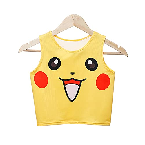 Jinwe Squirtle Print Tank Crop Top Vest,Pokemo Sexy Funny Cute Casual Cartoon Women's Print Tank Crop Top (Pikachu)