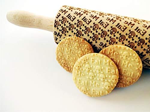 Nudelholz TOTENKOPF EAT ME. Teigrolle mit Schädel. Kekse. Präge Teigrolle. Halloween. Gravierte Nudelholz mit Muster. Engraved rolling pin
