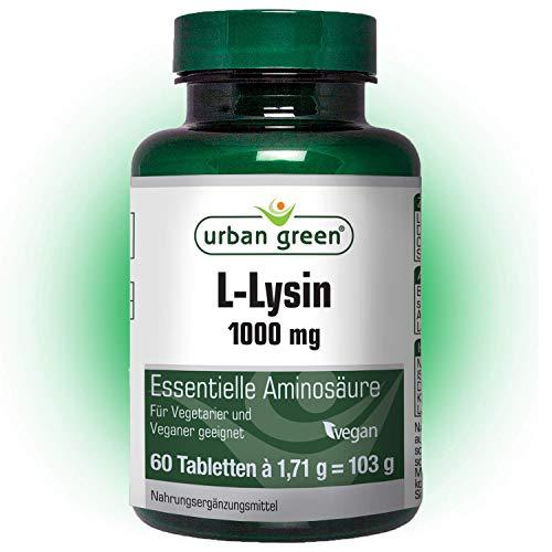 urban green L-Lysin 1000 mg 'EINFÜHRUNGSPREIS' - Tabletten vegan, laktosefrei und glutenfrei - 60 Tabletten