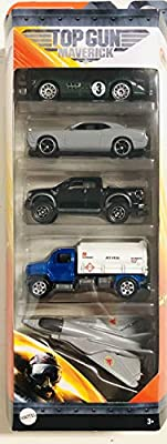 Matchbox Top Gun Maverick 5 Pack Style #2 Includes Swing Wing Plane, 2010 Ford Raptor, 1956 Aston Martin DBR1, Petrol Pumper & 2008 Dodge Challenger All Exclusive Vehicles 1:64 Scale Die Cast Toy Cars from Matchbox