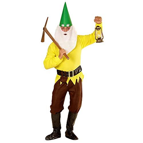 Widmann 01432 - Kostuum voor volwassenen, dwerg, jas, broek, riem, schoenovertrekker, hoed, wenkbrauwen, baard, geel