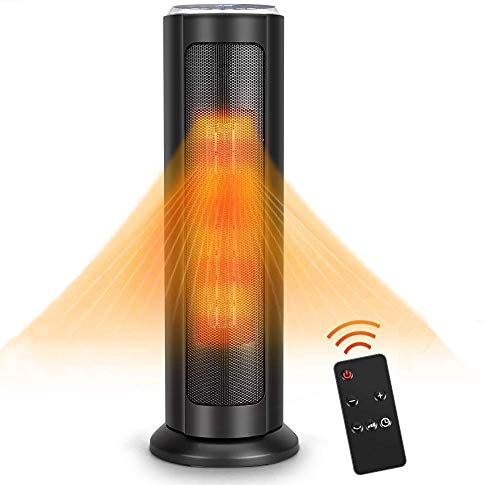 Space Heater - 1500W Electric Ceramic Heater, 3S Quick Heat Up, Remote Control, 8H Timer, Oscillating,Overheat & Tip-Over Protection, Portable Heater Fan for for Office Bedroom Home Indoor Use Heater Infrared Space