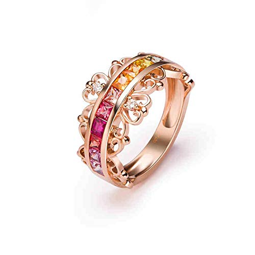 Dreamdge 18K Rose Gold Woman Engagement Rings, Crown Ring Colorful Square Sapphire, 1.286ct Size M½