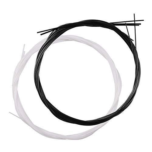 Fesjoy 4pcs / Set Nylon Ukelele Ukelele Uke Cuerdas para Soprano de 21 Pulgadas/Concierto de 23 Pulgadas/Ukeleles Tenor de 26 Pulgadas (.024-.026), Paquete de 2 Juegos (Negro + Blanco)