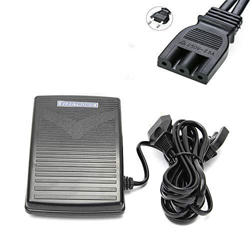 Tokenhigh Nähmaschine Fußpedal Controller,Nähmaschinen Fußschalter Fußsteuerung Pedal mit Netzkabel Elektronische Fußschalter für Haushaltsnähmaschinen (EU-Stecker 200-240V)