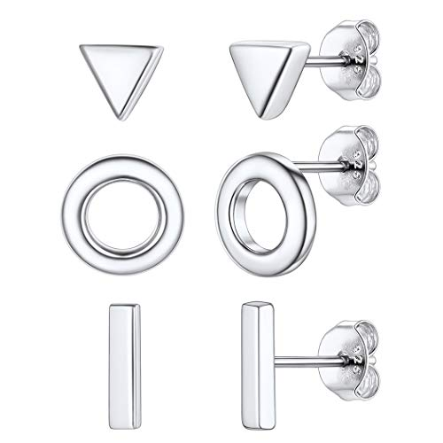 Womens 925 Sterling Silver 3 Pair Minimalist Geometric Mix and Match Stud Earrings Set, Tiny Small Bar Triangle Circle Staple Earrings Set, Hypoallergenic Nickel free Piercing Earrings for Teen Girls