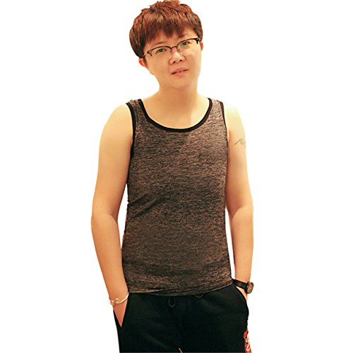 BaronHong Tomboy Trans Lesbian Mesh Chest Binder Plus Size Long Tank Top (Darkgray,L)