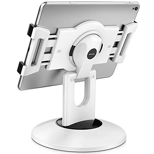 "AboveTEK Retail Kiosk iPad Stand, 360° Rotating Commercial Tablet Stand, 6-13.5"" Ipad Mini Pro-Business Tablet Holder, Swivel Design for Store POS Office Showcase Reception Kitchen Desktop (White)"