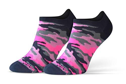 Sesto Senso Calcetines Cortos Divertidos Hombre Mujer 1-3 Pares Algodón Funny Socks Camuflaje Militar Rosa Neón 39-42 3 Camuflaje Rosa