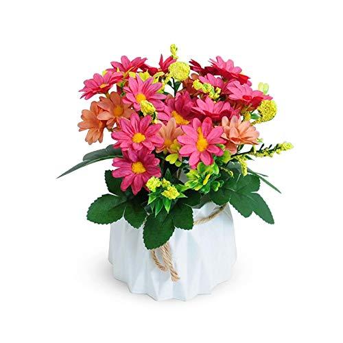 Hwtcjx piante finte da esterno, vaso fiori finti, 1 pezzo Fiori artificiali con vaso, Con vasi di fiori in plastica, realistici, per soggiorno, camera da letto, matrimonio (10,5 x 17cm, rosa)