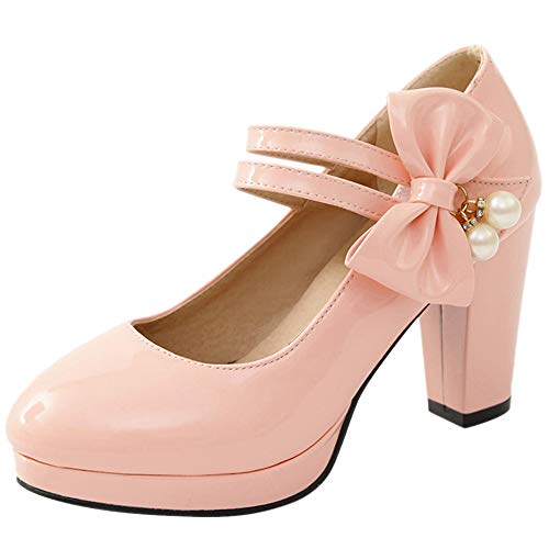 SacciButti Donna Moda Scarpe col Tacco Bowknot con Cinturino alla Caviglia Mary Jane Scarpe col Tacco A Blocco Festa Pink Size 46 Asian