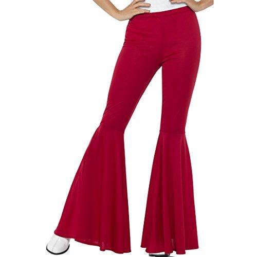 NET TOYS Pantalones de Campana Hippy - S/M (ES 36 - 42) | Pantalones Acampanados Años 70 Rojo | Pantalones de Pata de Elefante Años 62 | Fiesta Temática Hippy