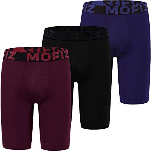MoFiz Herren Boxershorts Extra Langes Beine Unterhosen Männer Sport Unterhose 3er Pack Schwarz/Marineblau/Weinrot XXL