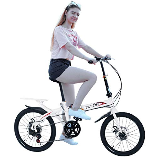 Mountain Bike for Youth and Adult, 20in Carbon Steel Mountain Bike, Mini Foldable Fashion Student Bicycle Full Suspension MTB, Lightweight and More Durable (White)