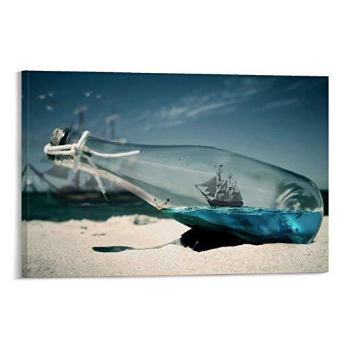 DRAGON VINES Póster de piratas del Caribe con perla negra en una botella, impresión artística de pared, para decoración del hogar, sin marco, 50 x 75 cm