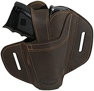 Barsony New Ambidextrous Brown Leather Pancake Holster for Compact 9mm 40 45