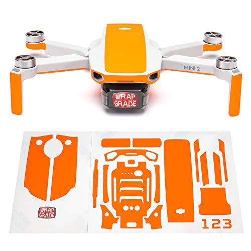 WRAPGRADE Skin Set di Adesivi Compatibile con DJI Mini 2   Colore di Accento (Neon Orange)