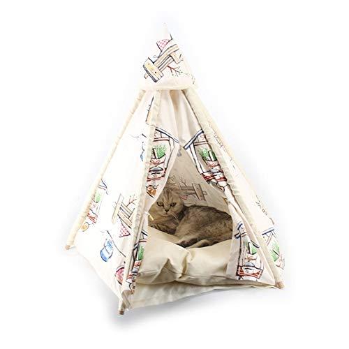 XXSHN Mascotas Cama Perrera Camping Disfrutar del Sol Lona Plegable Tienda para Perros Madera DIY Ensamblado Cobertizo para Gatos Casa de Cuatro Estaciones para Gatos Perros