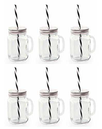 Trinkglas mit Deckel und Trinkhalm (silber schwarz)
